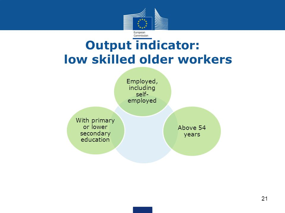 Output indicator: low skilled older workers 21 With primary or lower secondary education Above 54 years Employed, including self- employed