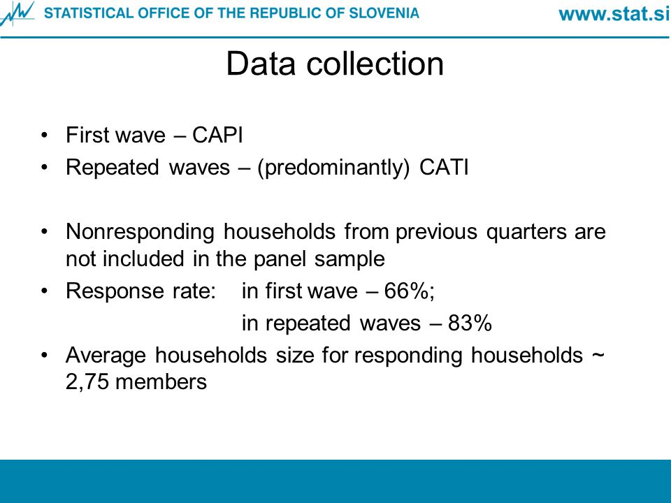 Data collection First wave – CAPI Repeated waves – (predominantly) CATI Nonresponding households from previous quarters are not included in the panel