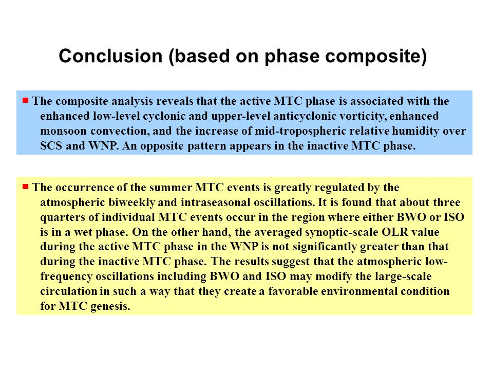 Conclusion (based on phase composite) ■ The occurrence of the summer MTC events is greatly regulated by the atmospheric biweekly and intraseasonal oscillations.