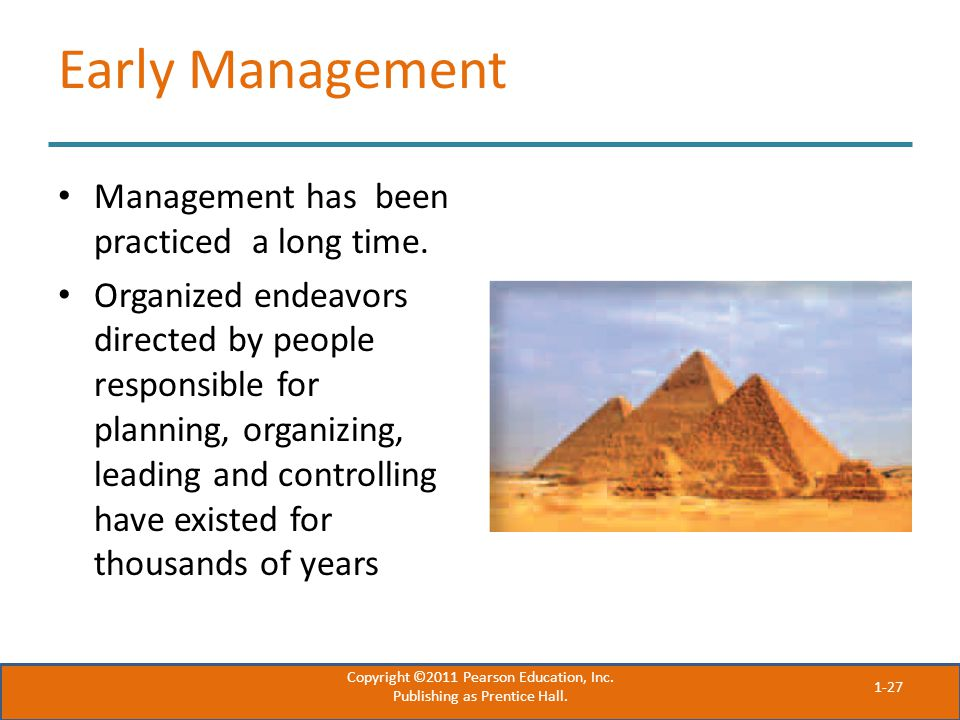 Early Management Management has been practiced a long time.