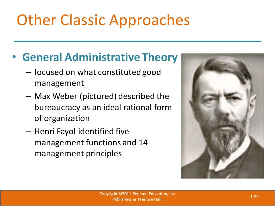 Other Classic Approaches General Administrative Theory – focused on what constituted good management – Max Weber (pictured) described the bureaucracy as an ideal rational form of organization – Henri Fayol identified five management functions and 14 management principles Copyright ©2011 Pearson Education, Inc.