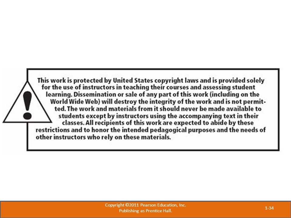 Copyright ©2011 Pearson Education, Inc. Publishing as Prentice Hall. 1-34