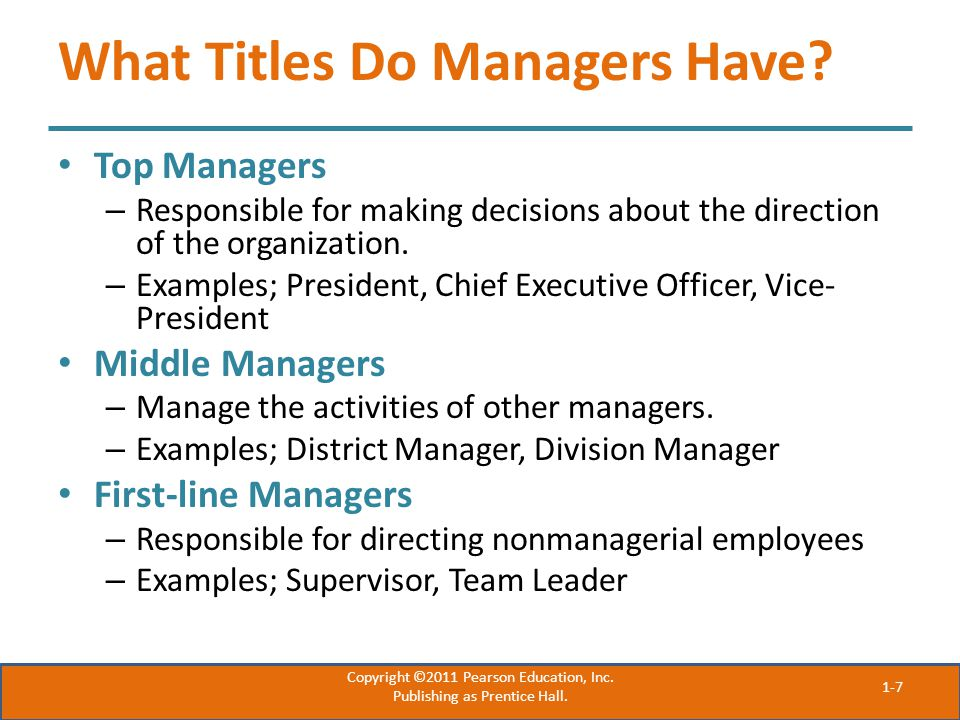 What Titles Do Managers Have.