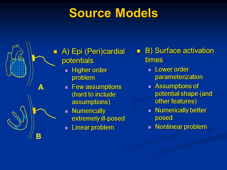 Source Models A) Epi (Peri)cardial potentials A) Epi (Peri)cardial potentials Higher order problem Higher order problem Few assumptions (hard to include assumptions) Few assumptions (hard to include assumptions) Numerically extremely ill-posed Numerically extremely ill-posed Linear problem Linear problem A - + B - + + - B) Surface activation times B) Surface activation times Lower order parameterization Lower order parameterization Assumptions of potential shape (and other features) Assumptions of potential shape (and other features) Numerically better posed Numerically better posed Nonlinear problem Nonlinear problem