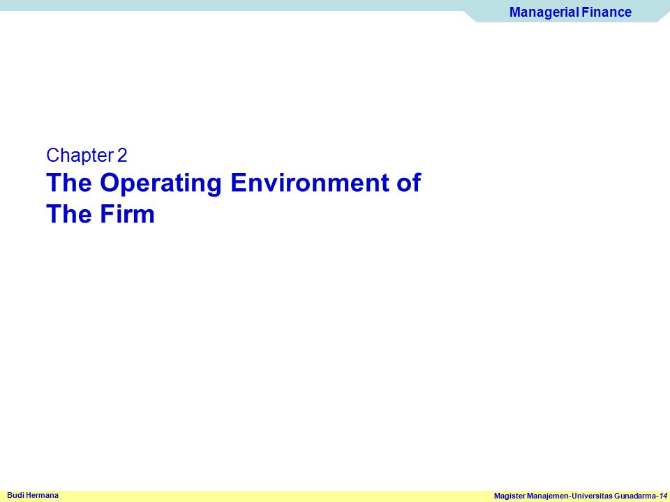 Managerial Finance Magister Manajemen-Universitas Gunadarma-14 Budi Hermana Chapter 2 The Operating Environment of The Firm