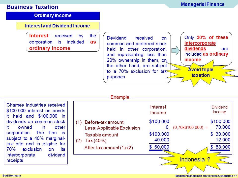 Managerial Finance Magister Manajemen-Universitas Gunadarma-17 Budi Hermana Business Taxation Ordinary Income Interest and Dividend Income Interest re