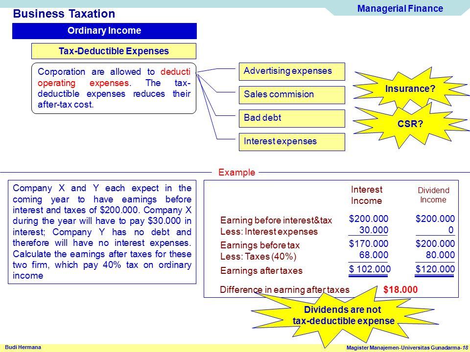 Managerial Finance Magister Manajemen-Universitas Gunadarma-18 Budi Hermana Business Taxation Ordinary Income Tax-Deductible Expenses Corporation are