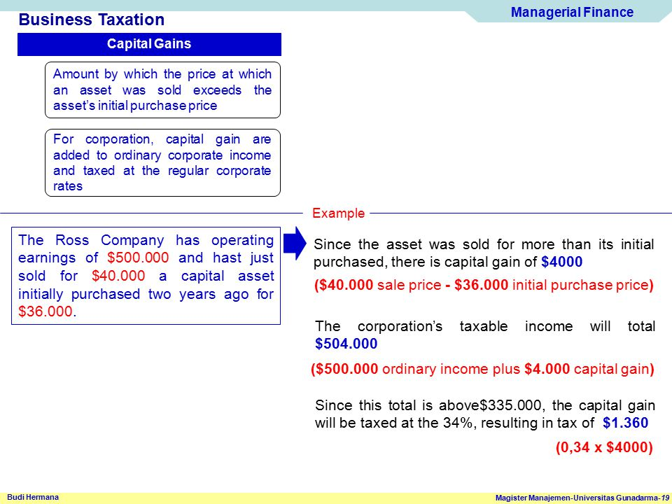 Managerial Finance Magister Manajemen-Universitas Gunadarma-19 Budi Hermana Business Taxation Capital Gains Amount by which the price at which an asse