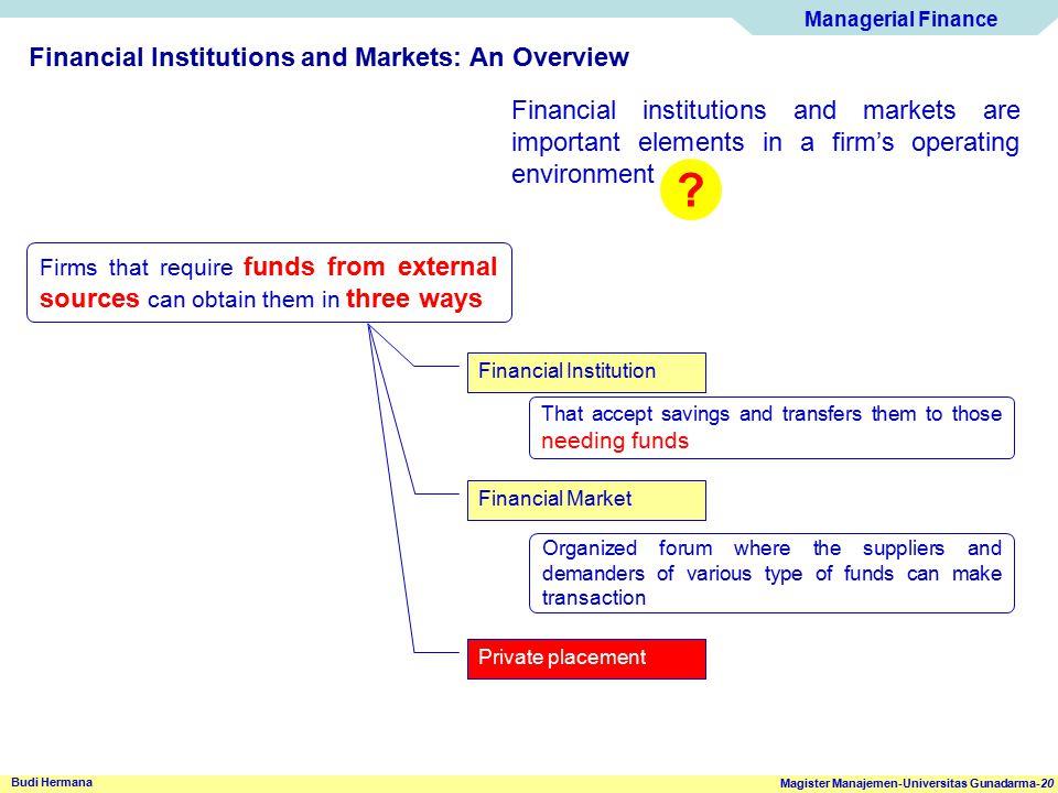 Managerial Finance Magister Manajemen-Universitas Gunadarma-20 Budi Hermana Financial Institutions and Markets: An Overview Financial institutions and