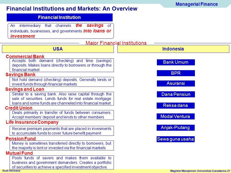 Managerial Finance Magister Manajemen-Universitas Gunadarma-21 Budi Hermana Financial Institutions and Markets: An Overview Financial Institution An i
