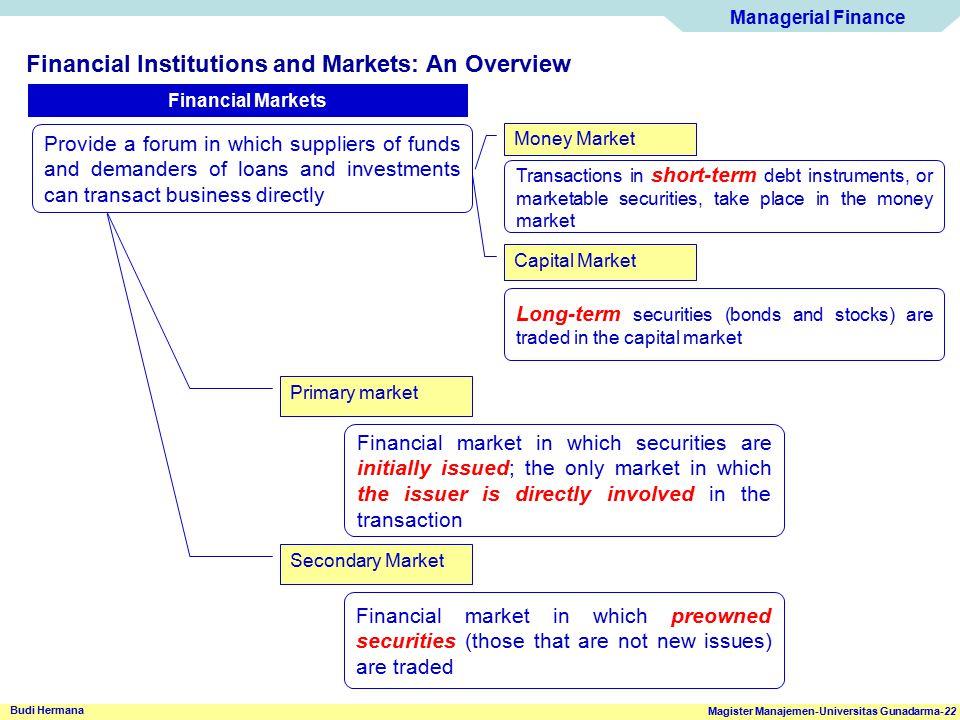 Managerial Finance Magister Manajemen-Universitas Gunadarma-22 Budi Hermana Financial Institutions and Markets: An Overview Financial Markets Provide