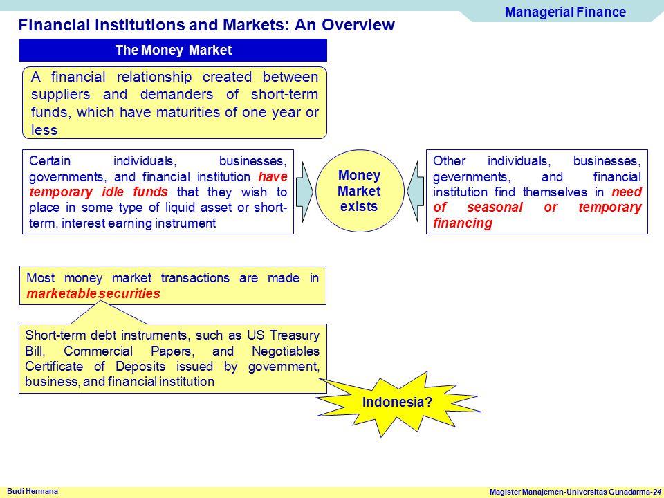Managerial Finance Magister Manajemen-Universitas Gunadarma-24 Budi Hermana Financial Institutions and Markets: An Overview The Money Market A financi
