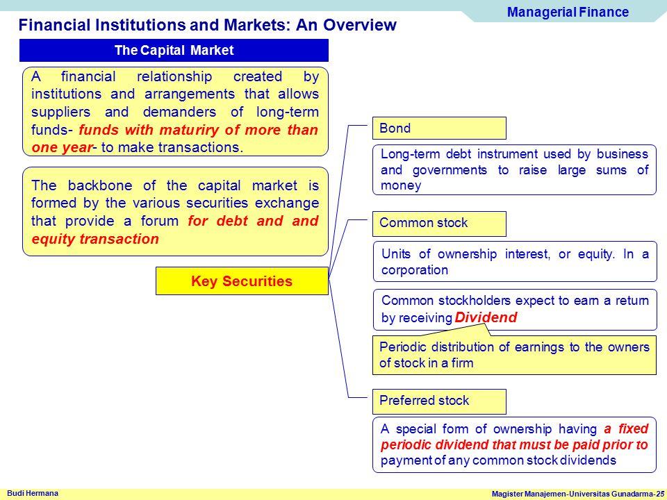 Managerial Finance Magister Manajemen-Universitas Gunadarma-25 Budi Hermana Financial Institutions and Markets: An Overview The Capital Market A finan