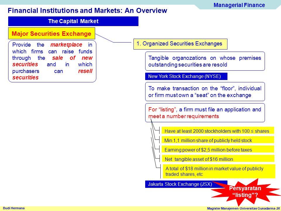 Managerial Finance Magister Manajemen-Universitas Gunadarma-26 Budi Hermana Financial Institutions and Markets: An Overview The Capital Market Major S