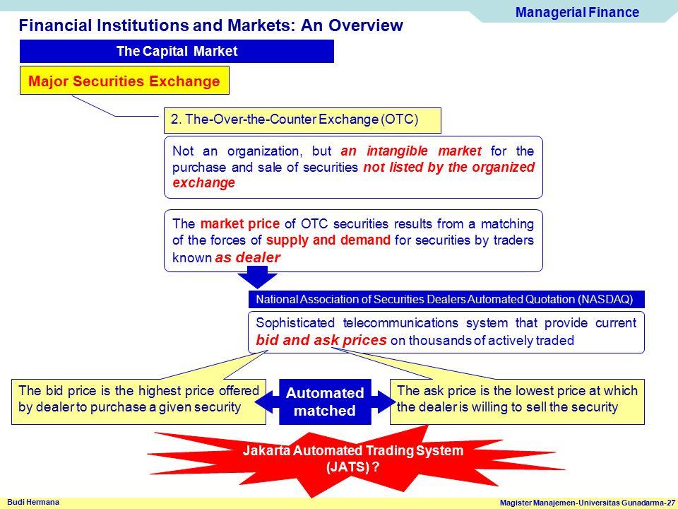 Managerial Finance Magister Manajemen-Universitas Gunadarma-27 Budi Hermana Financial Institutions and Markets: An Overview The Capital Market Major S