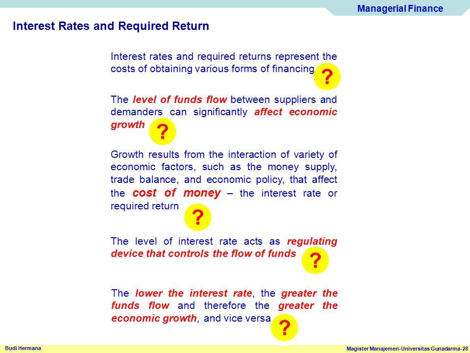 Managerial Finance Magister Manajemen-Universitas Gunadarma-28 Budi Hermana Interest Rates and Required Return The level of funds flow between supplie