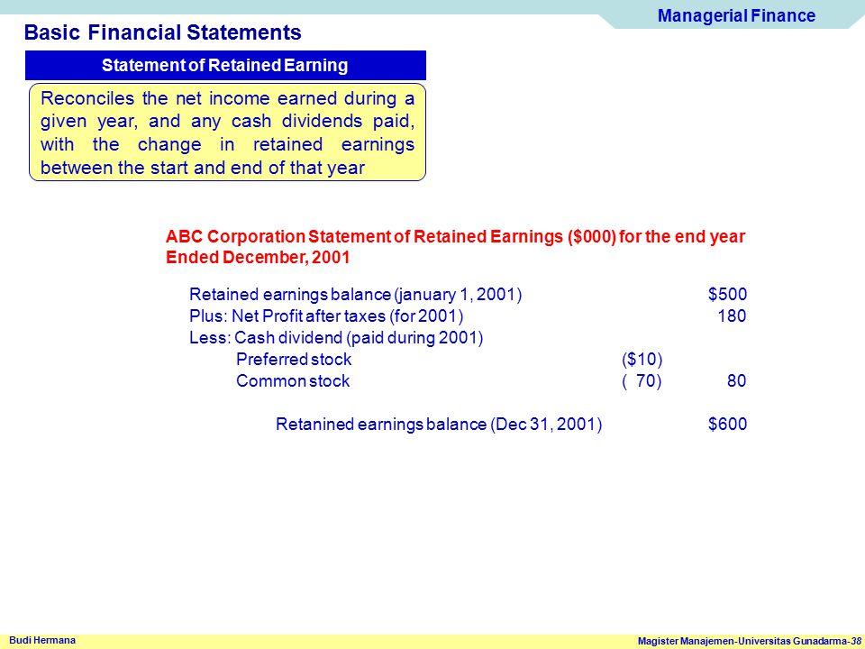 Managerial Finance Magister Manajemen-Universitas Gunadarma-38 Budi Hermana Basic Financial Statements Statement of Retained Earning ABC Corporation S