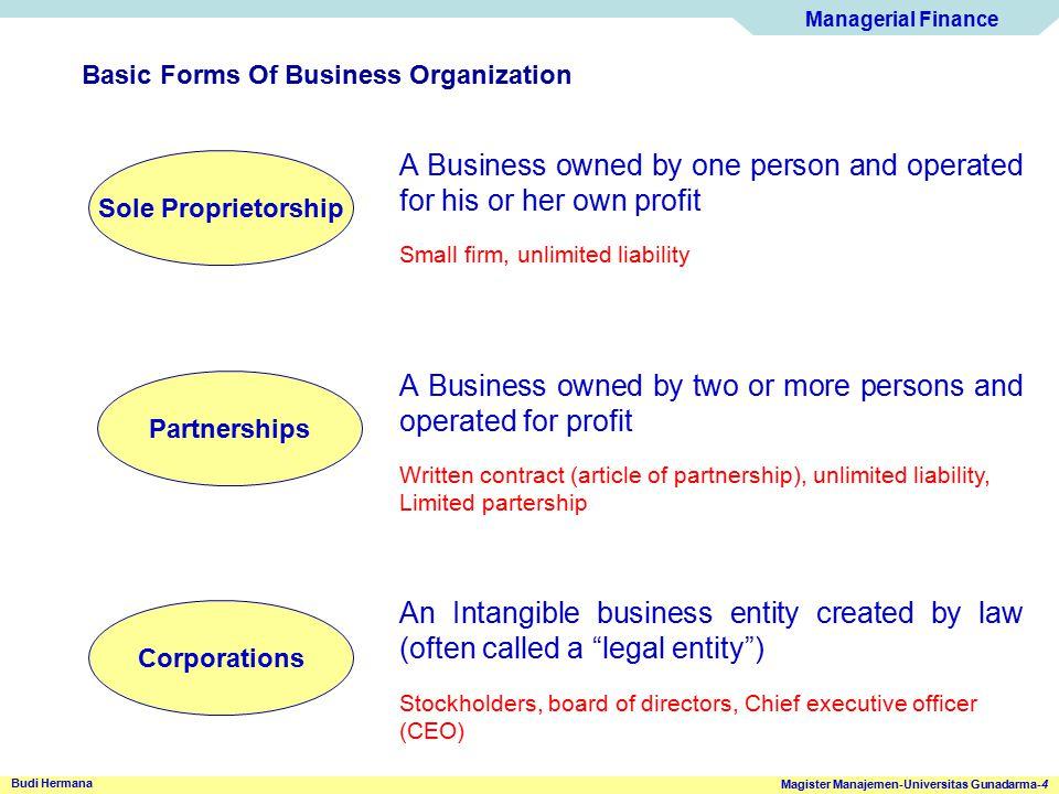 Managerial Finance Magister Manajemen-Universitas Gunadarma-4 Budi Hermana Basic Forms Of Business Organization Sole Proprietorship Partnerships Corpo