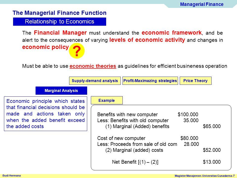Managerial Finance Magister Manajemen-Universitas Gunadarma-7 Budi Hermana The Managerial Finance Function Relationship to Economics The Financial Man
