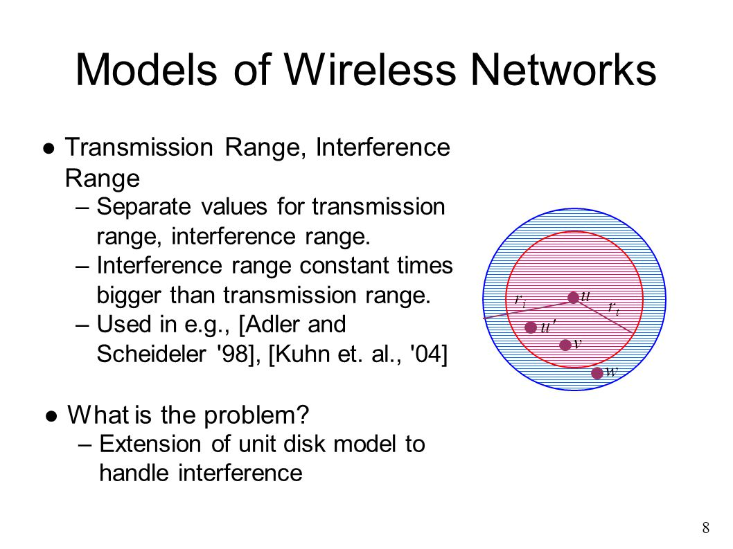 8 ●Transmission Range, Interference Range –Separate values for transmission range, interference range.