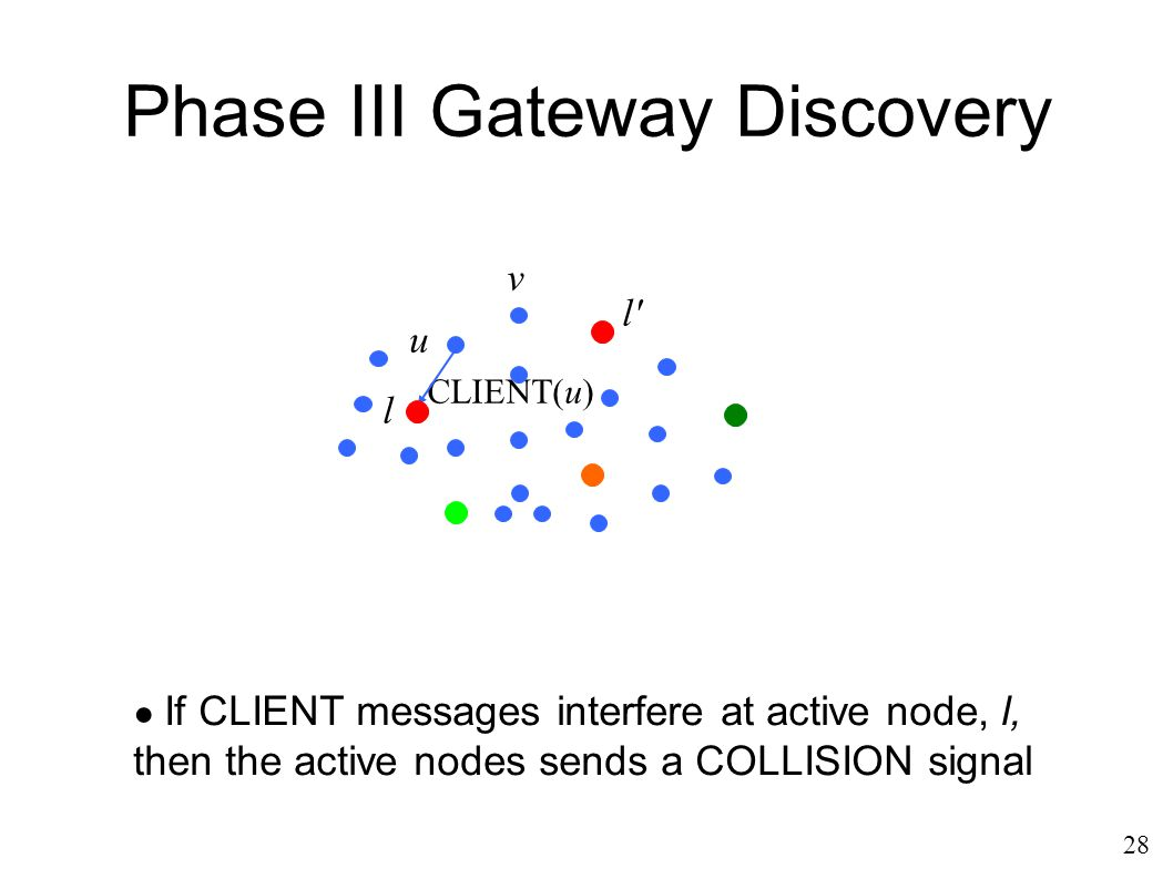 Phase III Gateway Discovery u l l' CLIENT(u) v ● If CLIENT messages interfere at active node, l, then the active nodes sends a COLLISION signal 28