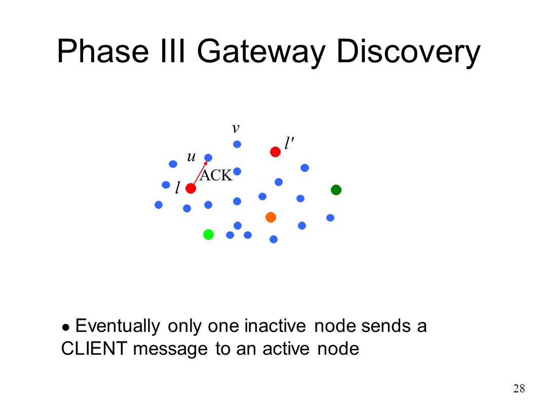 Phase III Gateway Discovery ACK ● Eventually only one inactive node sends a CLIENT message to an active node 28 u l l v