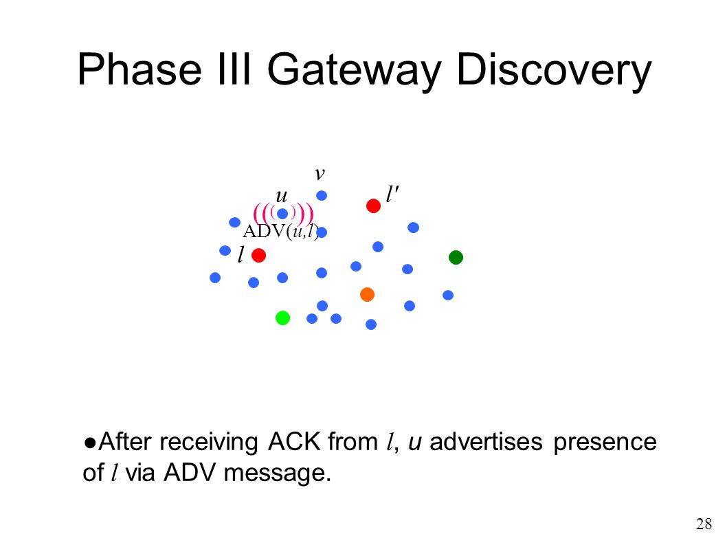 Phase III Gateway Discovery 28 ●After receiving ACK from l, u advertises presence of l via ADV message. ADV(u,l) (( () )) u l l' v