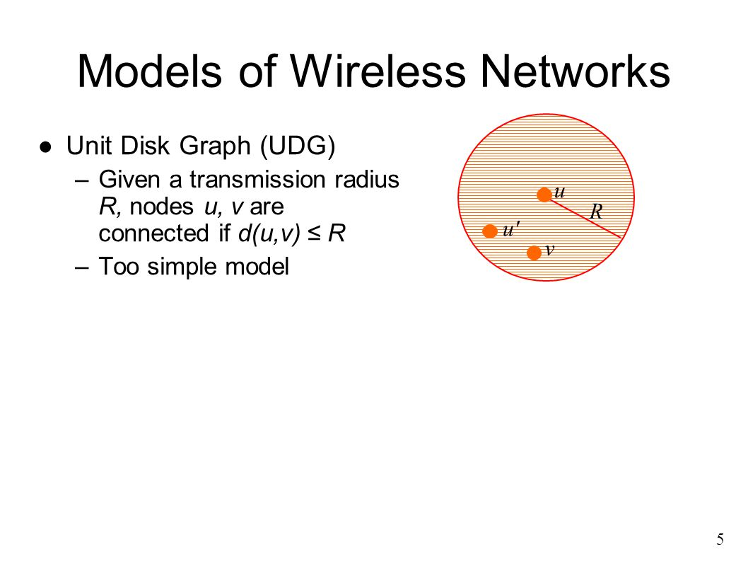 Models of Wireless Networks ●Unit Disk Graph (UDG) –Given a transmission radius R, nodes u, v are connected if d(u,v) ≤ R –Too simple model 5 u R v u