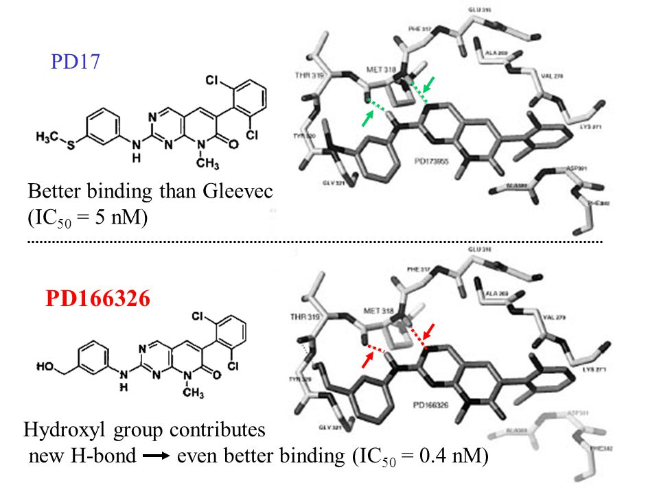 Hydroxyl group contributes new H-bond even better binding (IC 50 = 0.4 nM) Better binding than Gleevec (IC 50 = 5 nM) PD17 PD166326