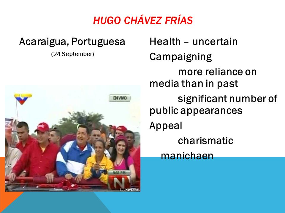 Acaraigua, Portuguesa (24 September) Health – uncertain Campaigning more reliance on media than in past significant number of public appearances Appeal charismatic manichaen HUGO CHÁVEZ FRÍAS