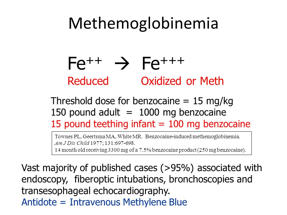 Methemoglobinemia Fe ++  Fe +++ Reduced Oxidized or Meth Threshold dose for benzocaine = 15 mg/kg 150 pound adult = 1000 mg benzocaine 15 pound teeth