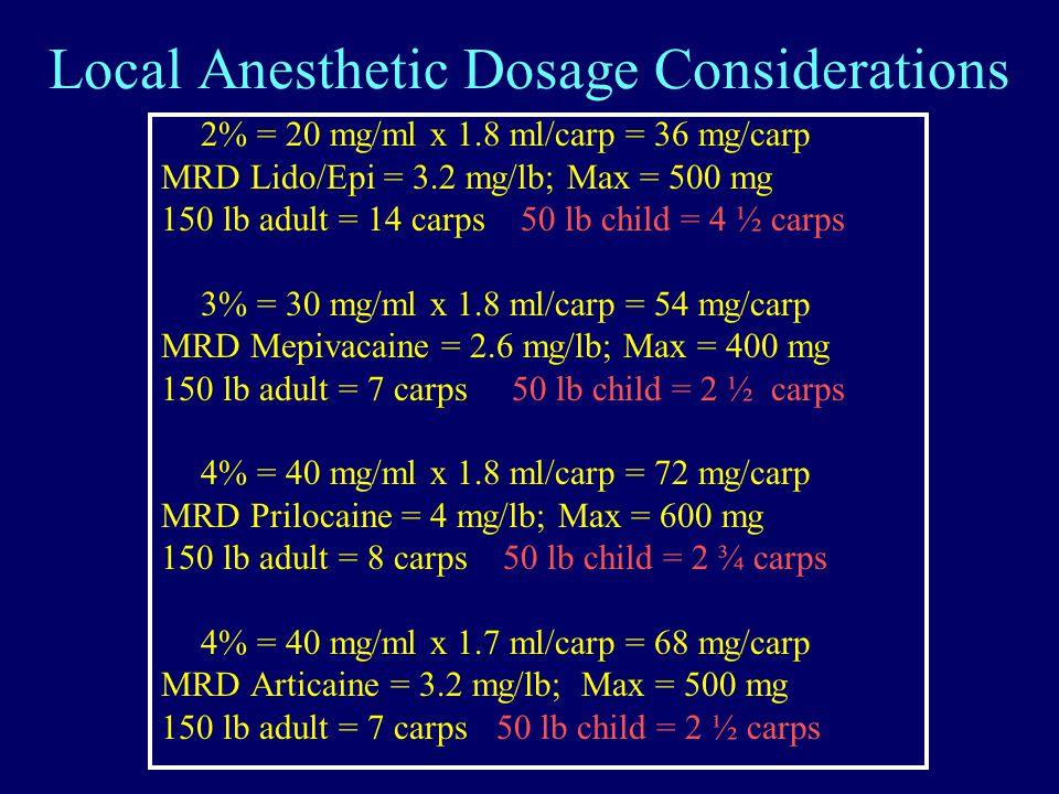 Local Anesthetic Dosage Considerations 2% = 20 mg/ml x 1.8 ml/carp = 36 mg/carp MRD Lido/Epi = 3.2 mg/lb; Max = 500 mg 150 lb adult = 14 carps 50 lb child = 4 ½ carps 3% = 30 mg/ml x 1.8 ml/carp = 54 mg/carp MRD Mepivacaine = 2.6 mg/lb; Max = 400 mg 150 lb adult = 7 carps 50 lb child = 2 ½ carps 4% = 40 mg/ml x 1.8 ml/carp = 72 mg/carp MRD Prilocaine = 4 mg/lb; Max = 600 mg 150 lb adult = 8 carps 50 lb child = 2 ¾ carps 4% = 40 mg/ml x 1.7 ml/carp = 68 mg/carp MRD Articaine = 3.2 mg/lb; Max = 500 mg 150 lb adult = 7 carps 50 lb child = 2 ½ carps