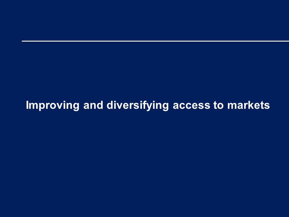 Improving and diversifying access to markets