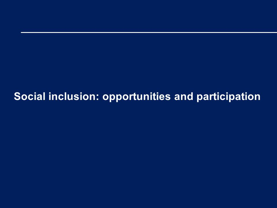 Social inclusion: opportunities and participation
