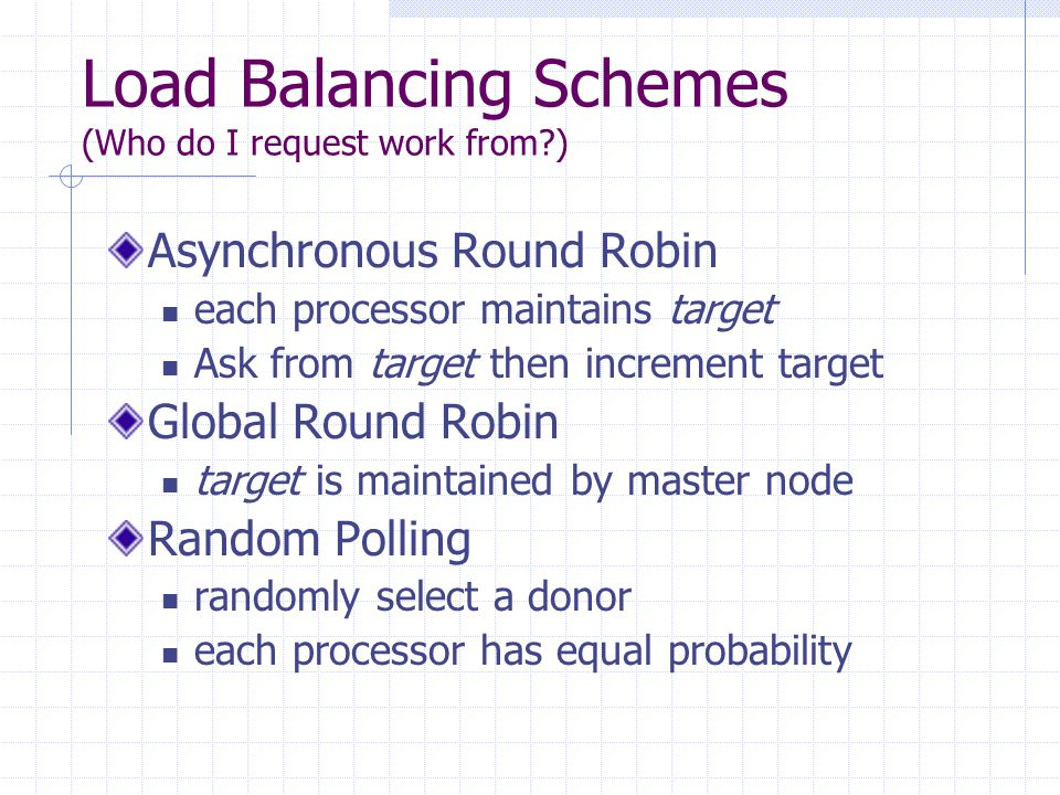 Load Balancing Schemes (Who do I request work from?) Asynchronous Round Robin each processor maintains target Ask from target then increment target Gl