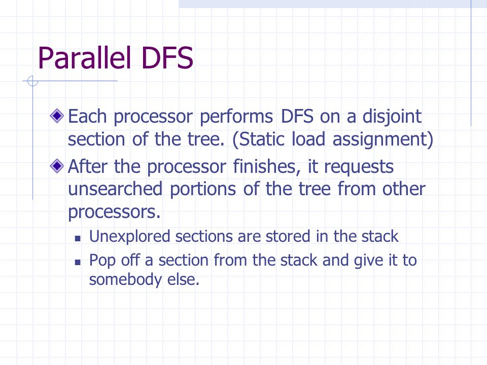 Parallel DFS Each processor performs DFS on a disjoint section of the tree. (Static load assignment) After the processor finishes, it requests unsearc