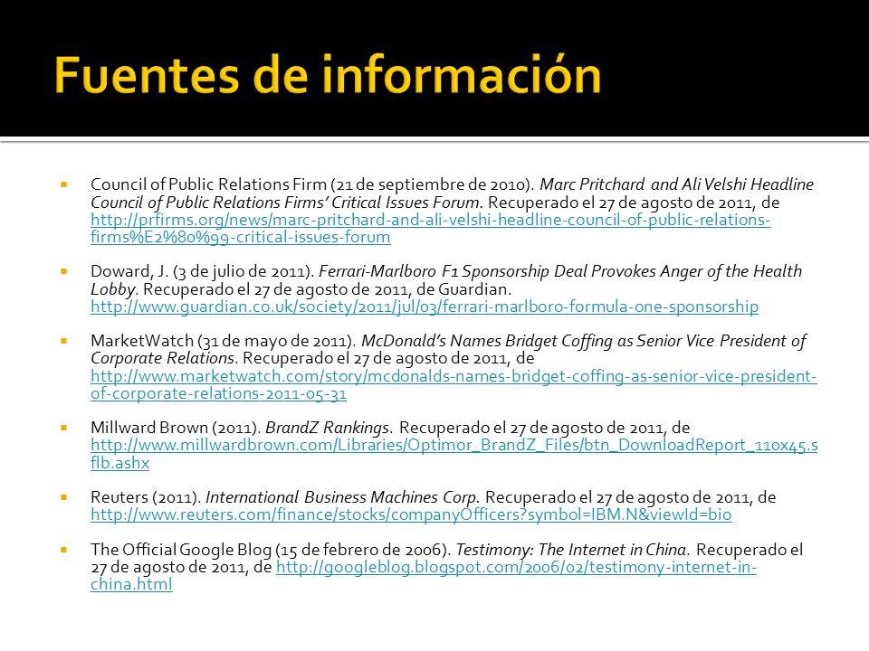  Council of Public Relations Firm (21 de septiembre de 2010).