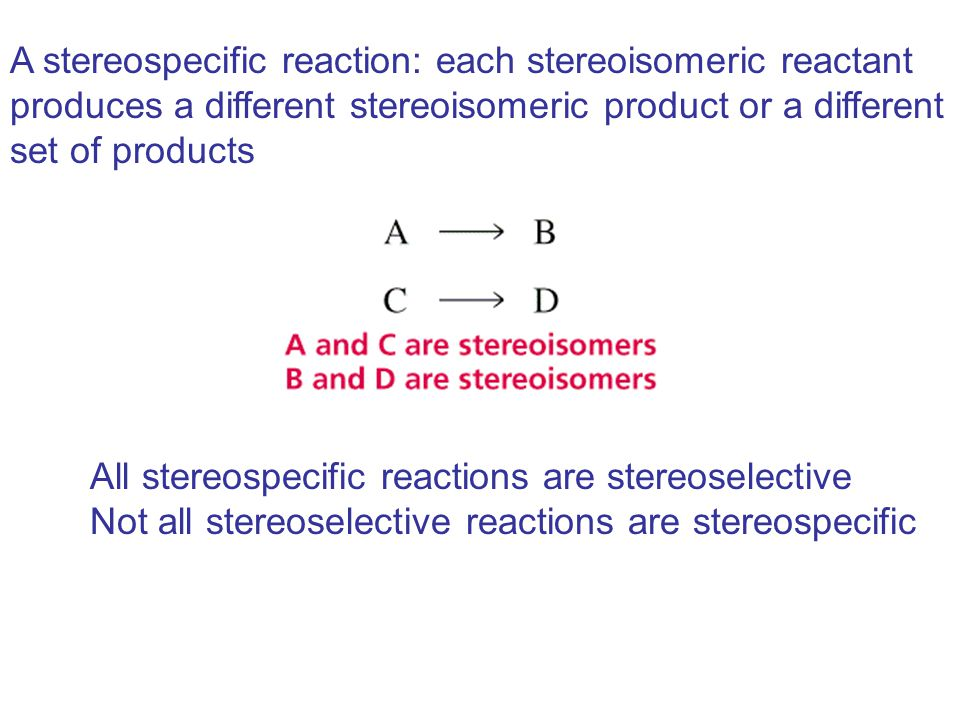 A stereospecific reaction: each stereoisomeric reactant produces a different stereoisomeric product or a different set of products All stereospecific reactions are stereoselective Not all stereoselective reactions are stereospecific