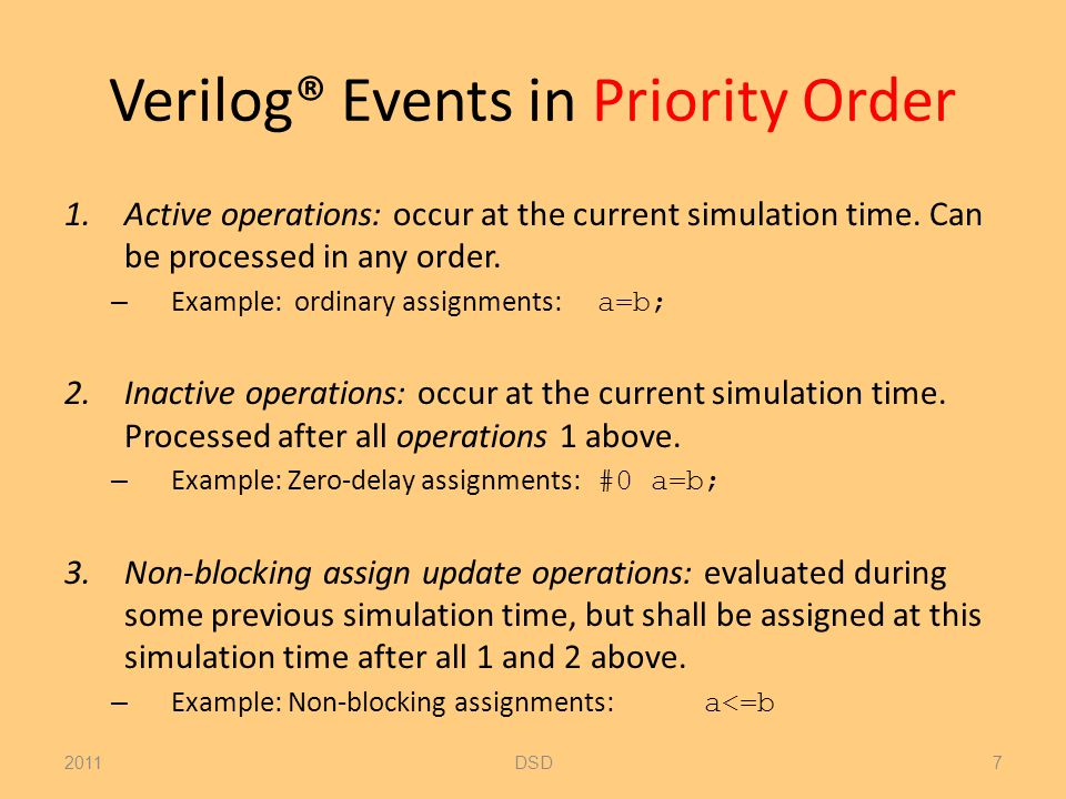 Verilog® Events in Priority Order 1.Active operations: occur at the current simulation time.