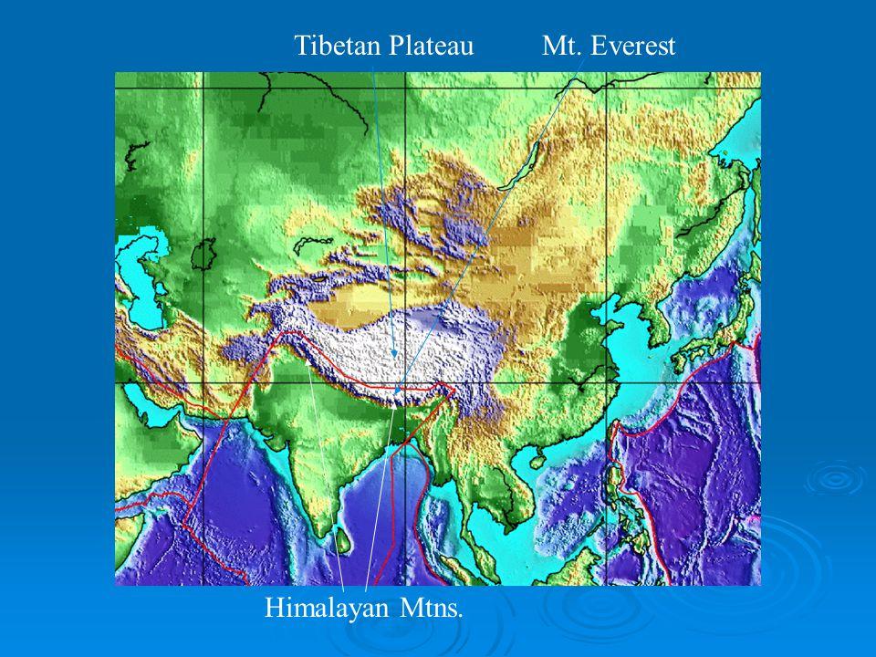 Tibetan Plateau Himalayan Mtns. Mt. Everest