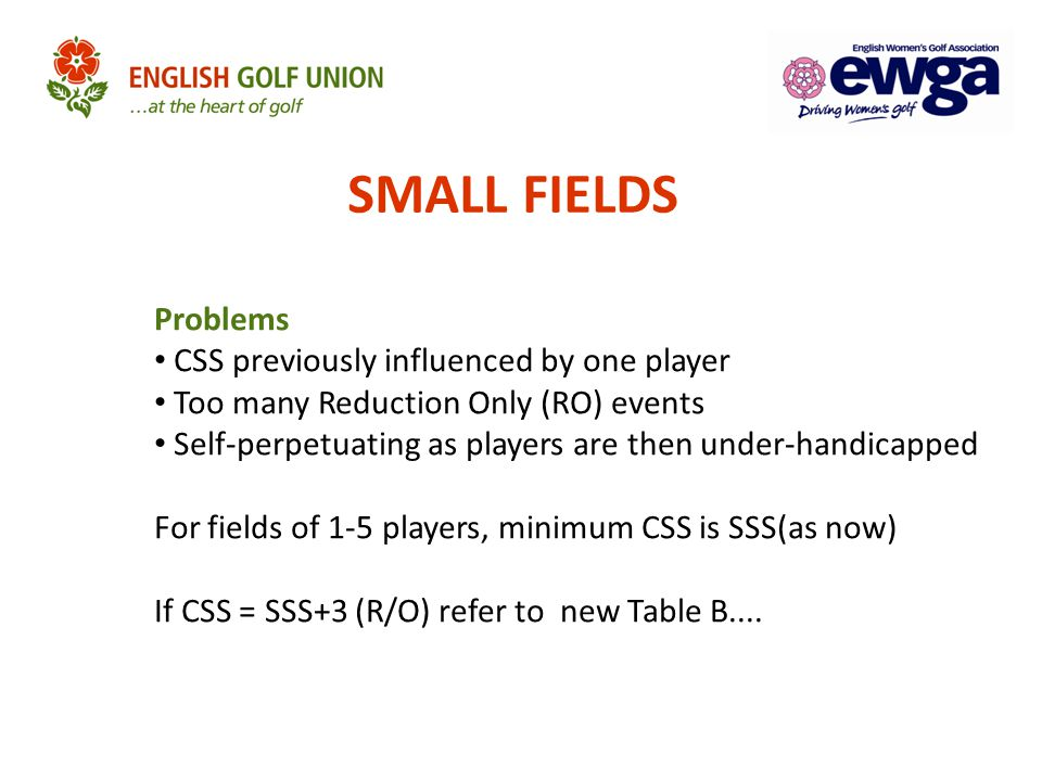 SMALL FIELDS Problems CSS previously influenced by one player Too many Reduction Only (RO) events Self-perpetuating as players are then under-handicap