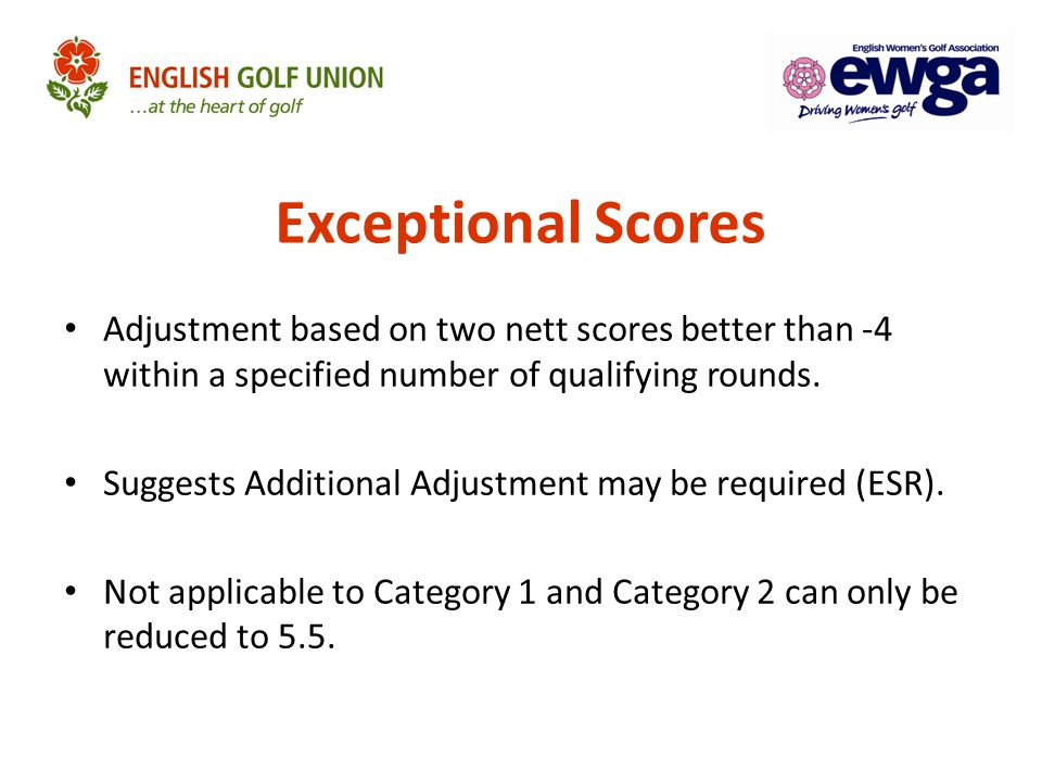 Adjustment based on two nett scores better than -4 within a specified number of qualifying rounds. Suggests Additional Adjustment may be required (ESR
