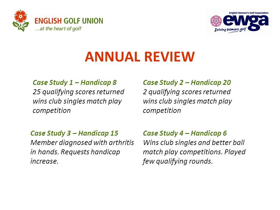 ANNUAL REVIEW Case Study 1 – Handicap 8 25 qualifying scores returned wins club singles match play competition Case Study 2 – Handicap 20 2 qualifying