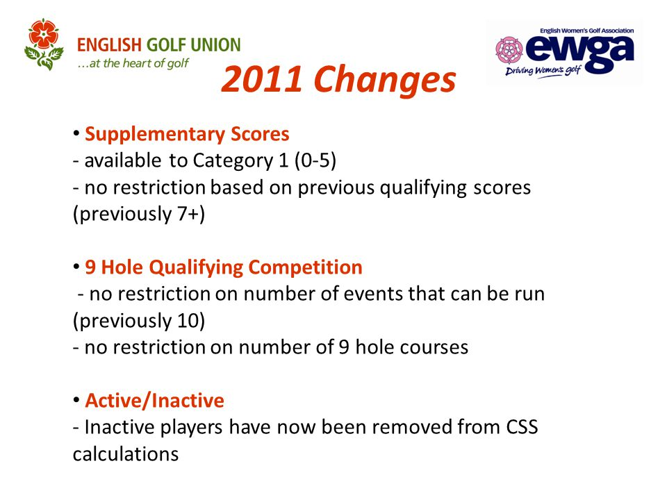 2012 – 2015 Changes Allocation of Handicaps CSS Calculation Based on SSS + Buffer Zone Small Field Table Introduced For 'Reductions Only' CSS Results Nine–hole Scores Extended Exceptional Scores Handling Annual Handicap Review (Players With Few Scores)