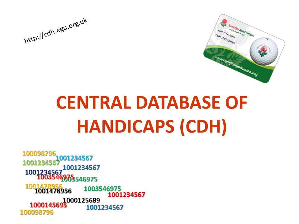 CENTRAL DATABASE OF HANDICAPS (CDH) 1001234567 1000125689 1001478956 1003546975 1000145695 100098796 1001234567 1001478956 100098796 1003546975 100354