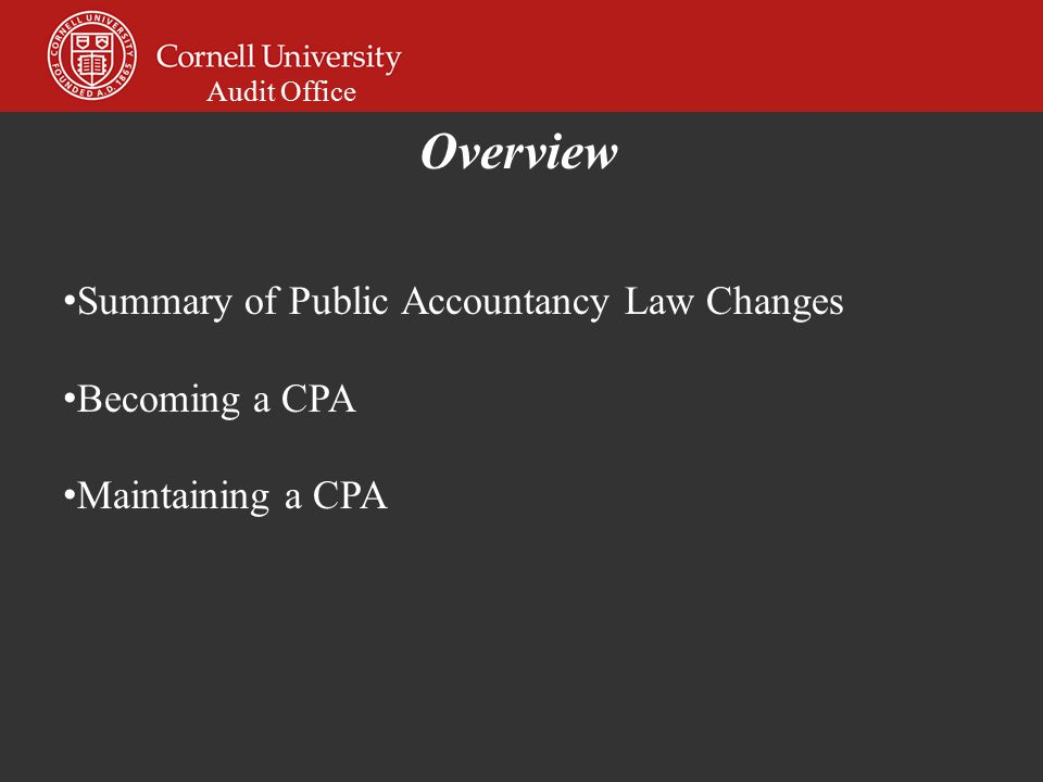 Audit Office Summary of Public Accountancy Law Changes Becoming a CPA Maintaining a CPA Overview