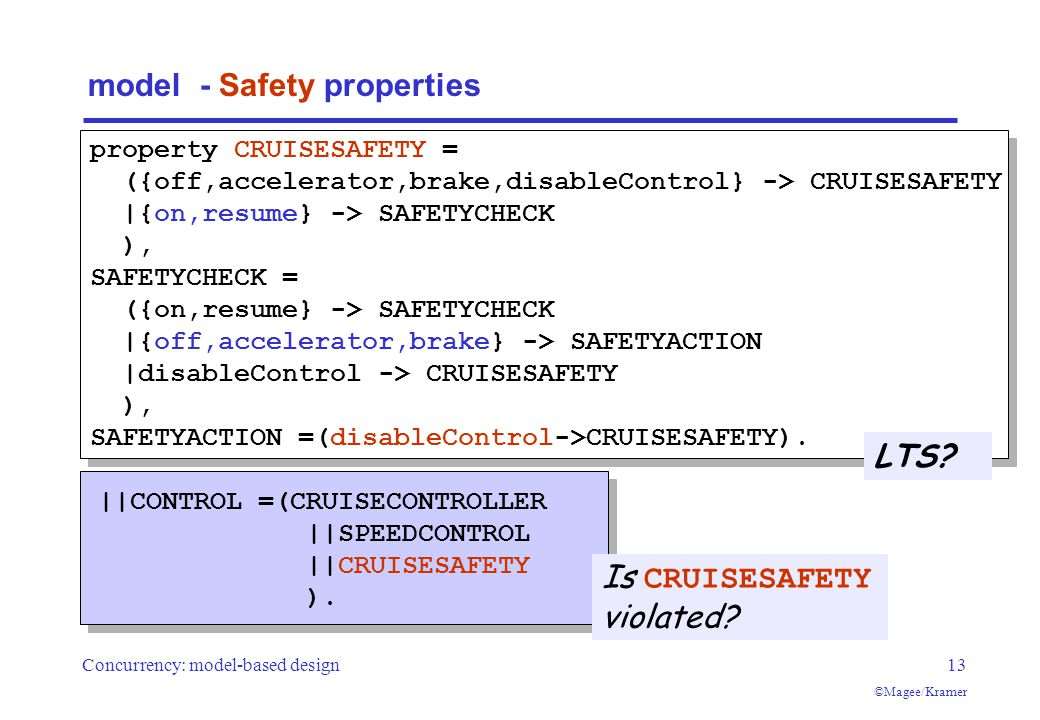 Concurrency: model-based design13 ©Magee/Kramer model - Safety properties Is CRUISESAFETY violated.