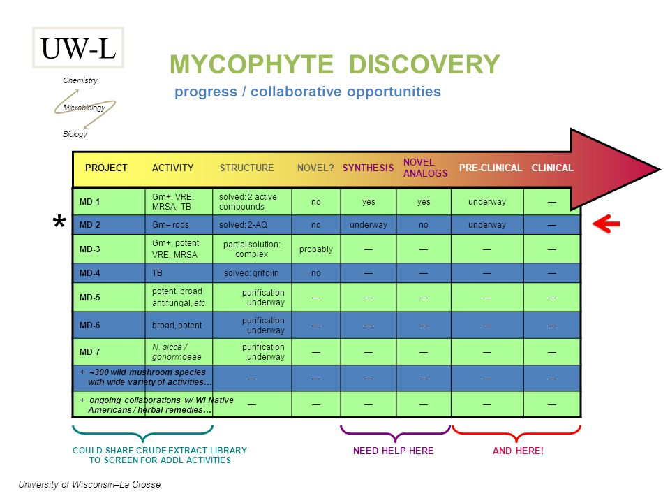 UW-L Chemistry Microbiology Biology University of Wisconsin–La Crosse progress / collaborative opportunities MYCOPHYTE DISCOVERY MD-1 Gm+, VRE, MRSA, TB solved: 2 active compounds noyes underway— MD-2Gm– rodssolved: 2-AQnounderwaynounderway— MD-3 Gm+, potent VRE, MRSA partial solution: complex probably———— MD-4TBsolved: grifolinno———— MD-5 potent, broad antifungal, etc purification underway ————— MD-6broad, potent purification underway ————— MD-7 N.
