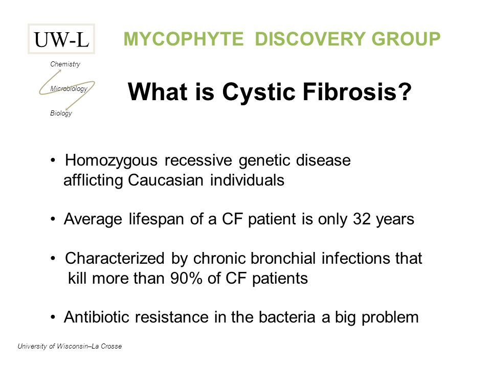 UW-L Chemistry Microbiology Biology University of Wisconsin–La Crosse MYCOPHYTE DISCOVERY GROUP What is Cystic Fibrosis.