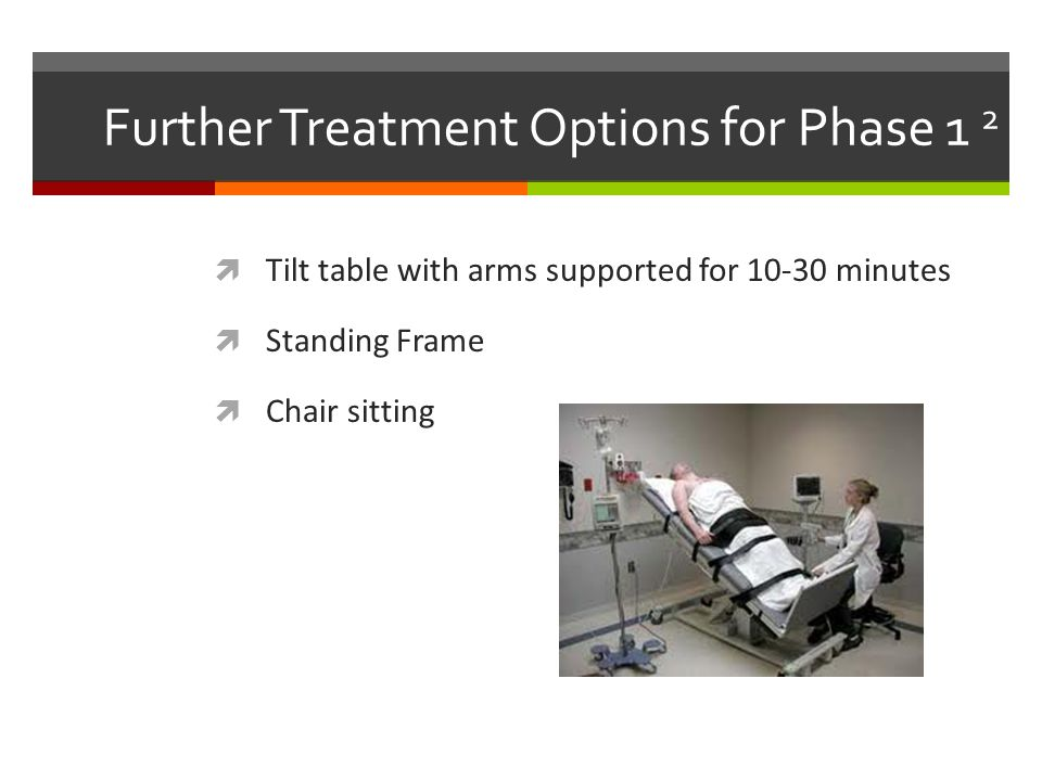 Further Treatment Options for Phase 1 2  Tilt table with arms supported for 10-30 minutes  Standing Frame  Chair sitting